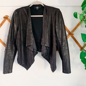 ABS Black Faux Leather Open Jacket XS